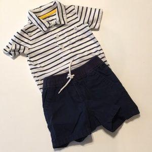 Carter's Navy Stripe Onesie GAP navy shorts 18-24M